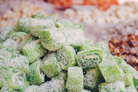 Assorted Turkish Delight bars(Sugar coated soft candy) Stockfoto