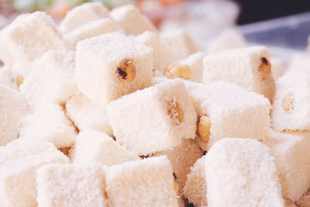 Assorted white Turkish Delight bars (Sugar coated soft candy)
