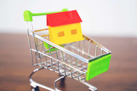Buying a house concept. Model home in a shopping cart