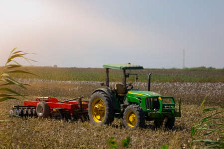 cotton field after harvest with a tractor.