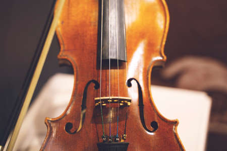 Close up shot of a violin,very soft def of field
