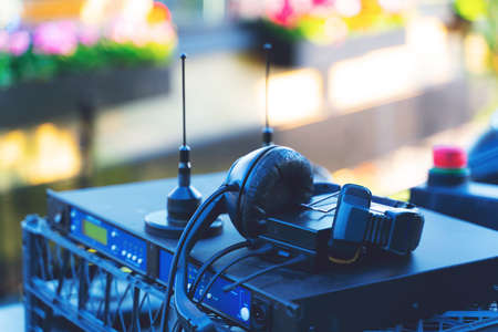 Professional recording and headphone. Broadcasting TV equipment