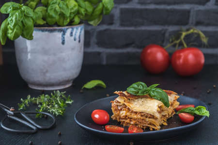 Piece of homemade vegetarian soya lasagne on a black plate, tomatoes, herbes and basil on dark background