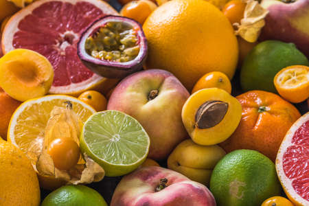 Tropical colorful summer fruits