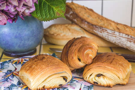 French croissants, pain au chocolat and bread