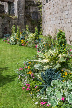 Bed of colorful summer flowers in front of a stone wall and building