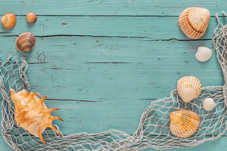 Sseashells and fishing net on old gray wooden background 免版税图像