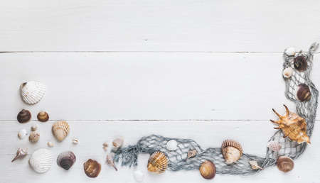 Seashells and fishing net on white wooden background, banner for own text