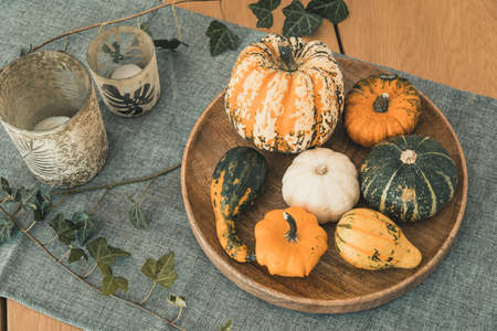 Various edible and decorative pumpkins on a round wooden tray, green glasses and ivy as decoration on a living room table