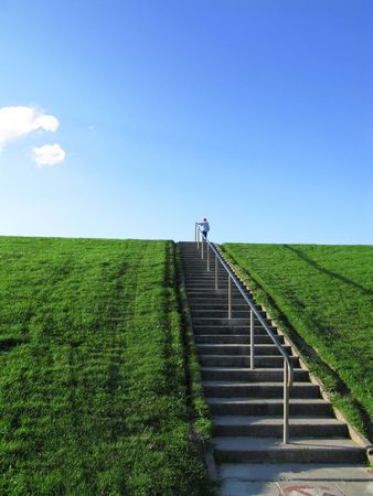 young boy on a stairway to heaven with cloud Stock Photo - 3494972