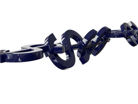 coherence: Dollar Chain 3D Concept Blue Stock Photo