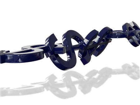 coherence: Dollar Chain 3D Concept Blue Reflections