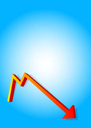 An arrow pointing down of a graph rendered in 3D Stock Photo