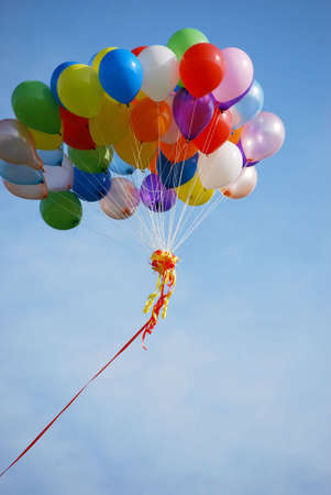 Ballons in the blue sky do happen occationally in sports event and launching ceremony. Stock Photo