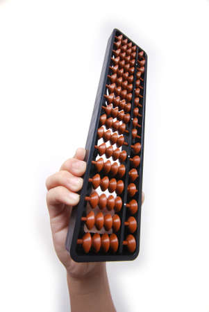 full shot: Full shot of abacus over white background with hand. Stock Photo