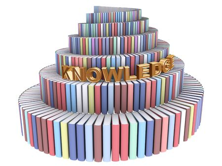 책과 흰색에 지식 단어에서 만든 바벨탑 스톡 콘텐츠