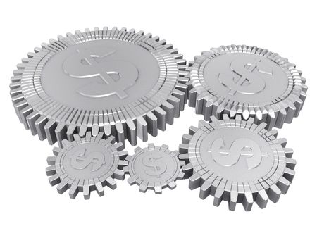 Five silver dollar gears Stock Photo - 6367702