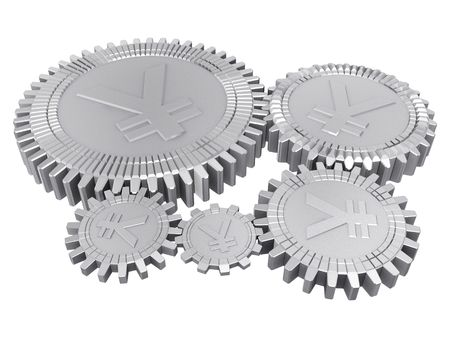 Five silver yuan gears Stock Photo - 6367756