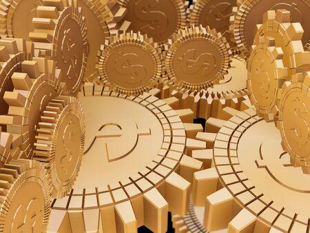 Golden money gears Stock Photo - 6367688