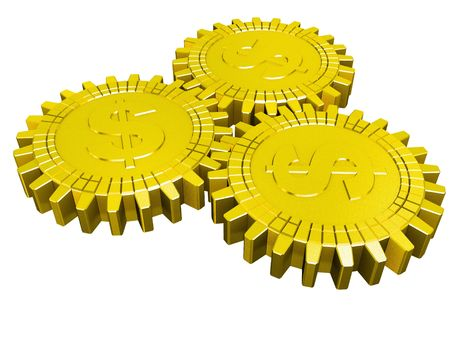 Golden money gears isolated Stock Photo - 6367750