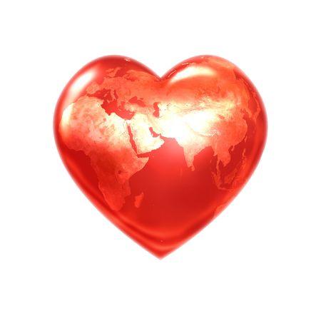 Welt Herz rot eurasia Lizenzfreie Bilder