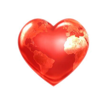 Welt Herz rot