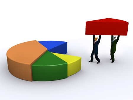 proportion: Businessmen and pie chart Stock Photo