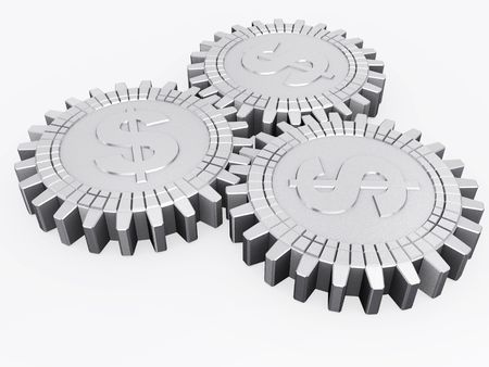 Silver money gears isolated photo