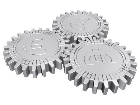 Silver euro money gears isolated Stock Photo - 6367772