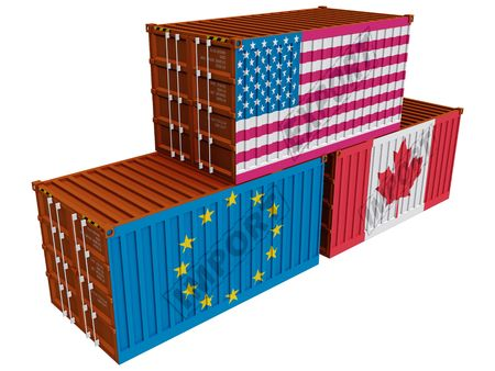 Trade containers USA EU Canada Stock Photo - 6367804