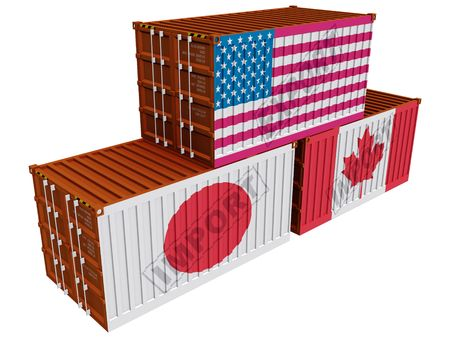 canada stamp: Trade containers USA Japan Canada