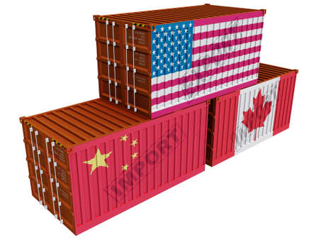 exporter:  Trade containers USA China Canada Stock Photo