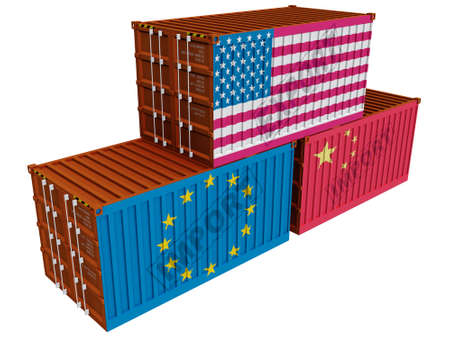 Trade containers USA EU China Stock Photo - 6367776