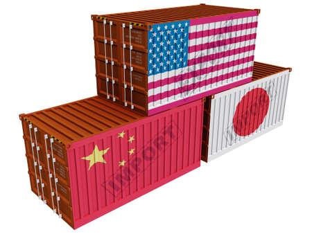 Handel mit Container USA Japan China Lizenzfreie Bilder
