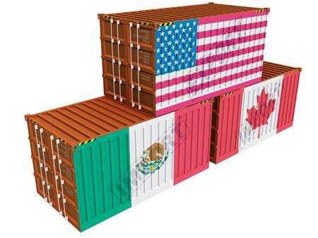 canada stamp: Cargo containers USA Mexico Canada