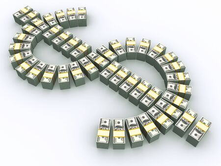hoard: stacks of $100 bills arrayed in dollar symbol shape with shadow
