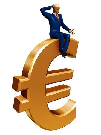 hesitation: businessman on euro isolated on white Stock Photo
