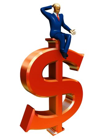 businessman on red dollar sign isolated on white photo