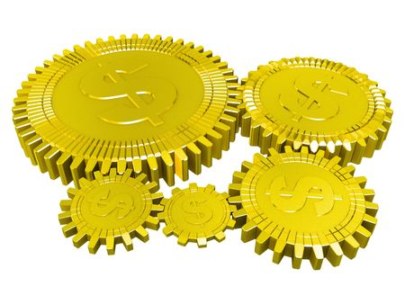Five golden dollar money gears isolated Stock Photo - 6481595