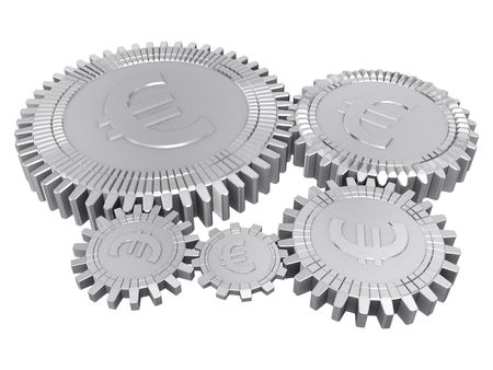 Five silver euro money gears isolated Stock Photo - 6481593
