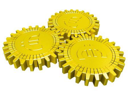 Golden euro money gears isolated Stock Photo - 6481587