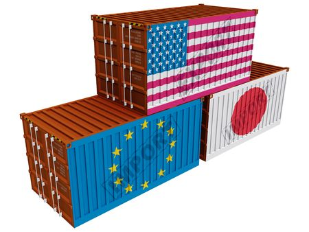 Trade containers USA Japan EU Stock Photo - 6481592