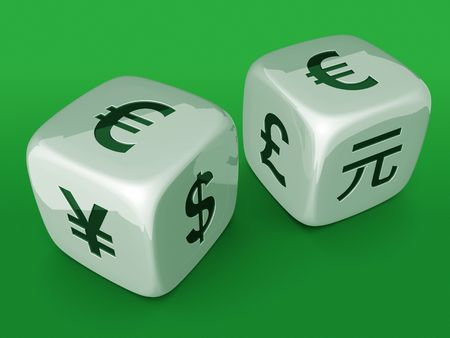 american currency: White dices with Euro currency sign on green table