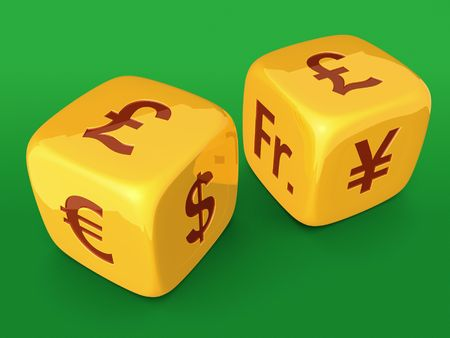 Golden dices with Pound currency sign on green table photo
