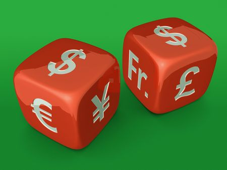 Red dices with Dollar currency sign on green table photo