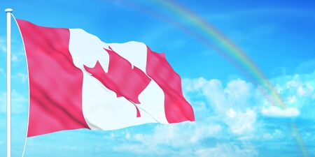 Canadian flag on beautiful sky background photo