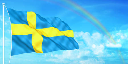 Sweden flag on beautiful sky background photo