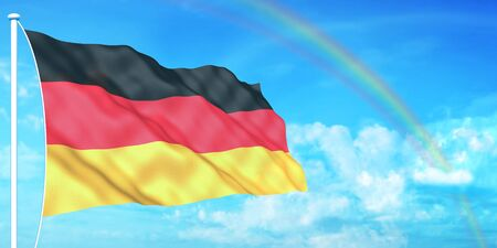 German flag on beautiful sky background photo