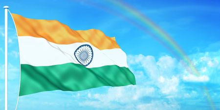 Indian flag on beautiful sky background Stock Photo