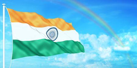 Indiase vlag op mooie hemel achtergrond